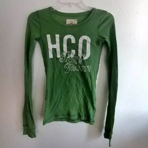Hollister green graphic long sleeve top